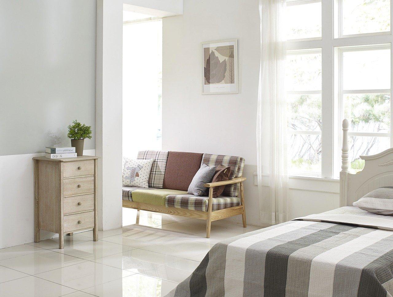 bedroom, cupboard, bed
